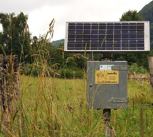 Powering an electric fence with a solar panel